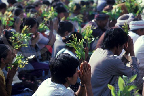 Photo of pilgrims praying in Rangoon, Burma