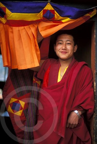 Photo of a monk in Bhutan