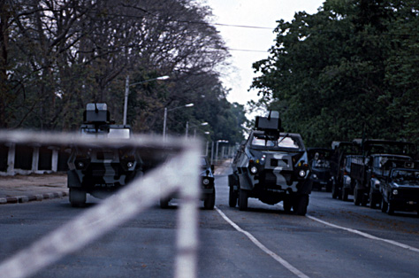 Photo of martial law in Rangoon, Burma 1989