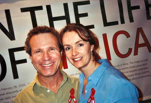 Photo of Jeffrey and Becky Aaronson at the Grand Central Station opening for A Day in the Life of Africa