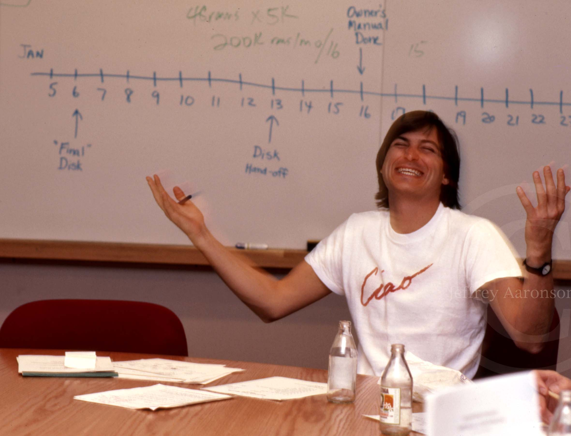 Photo of Steve Jobs, 1984 inside Apple Computer headquarters, Cupertino, CA