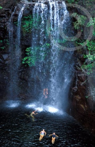 Photo of people swimming in a waterfall in Northern Territory, Australia