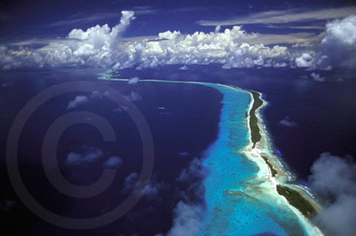 Aerial photograph of an island in Micronesia