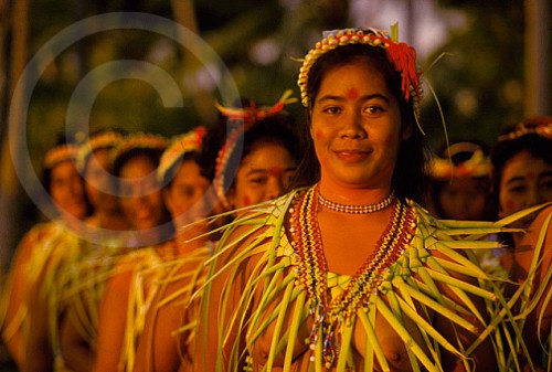 Photo of women in traditional dress in Truk, Micronesia