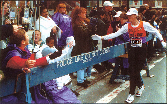 Becky Green Aaronson running the 1999 New York City Marathon
