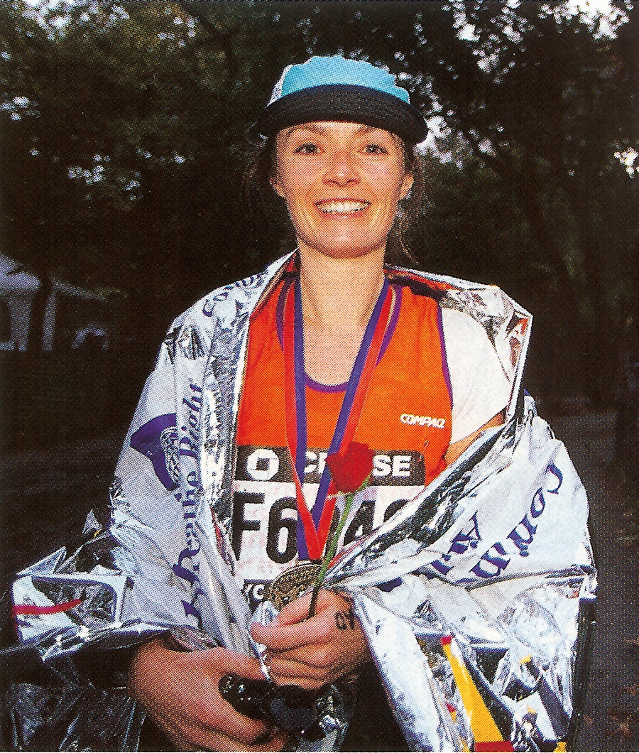 Photo of Becky Green Aaronson at the finish of the 1998 NYC Marathon
