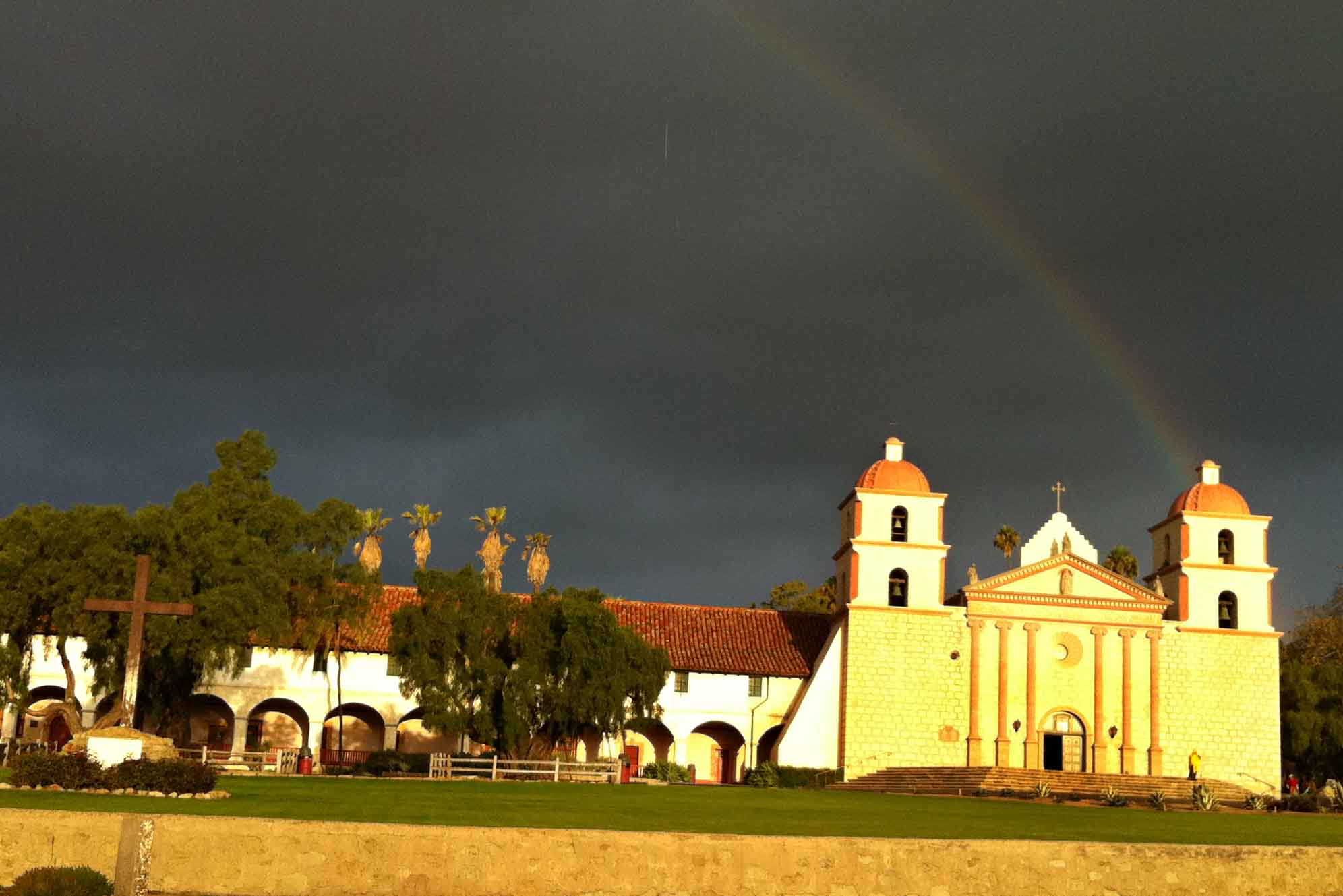 Photo of a rainbow over the Mission in Santa Barbara, CA