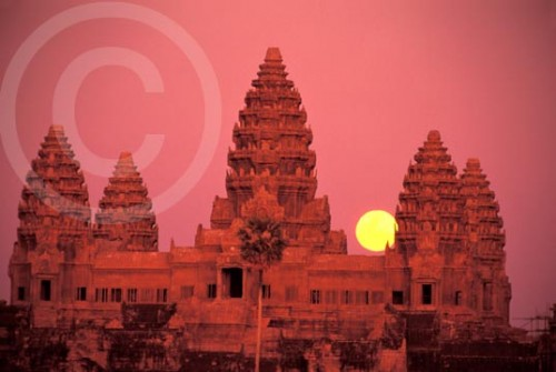 Photo of Angkor Wat Temple complex moon rise