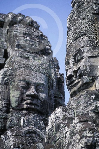 Photo of Stone statues at Angkor Wat Temple Complex in Cambodia
