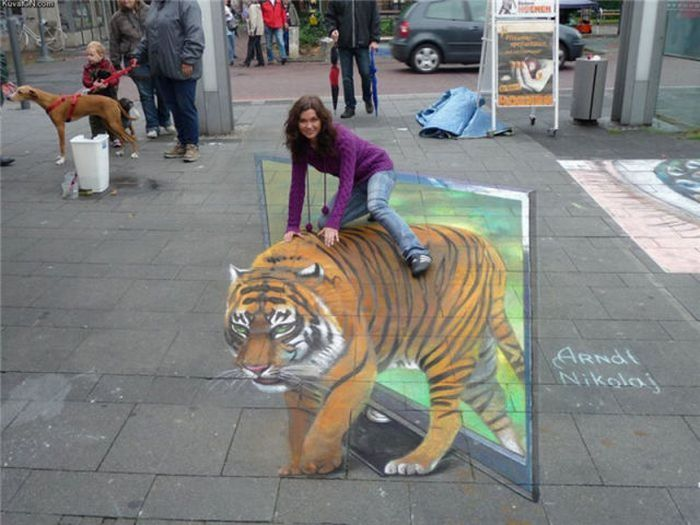 Photo of street art chalk tiger
