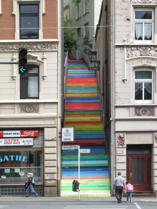 Photo of street art pastel steps