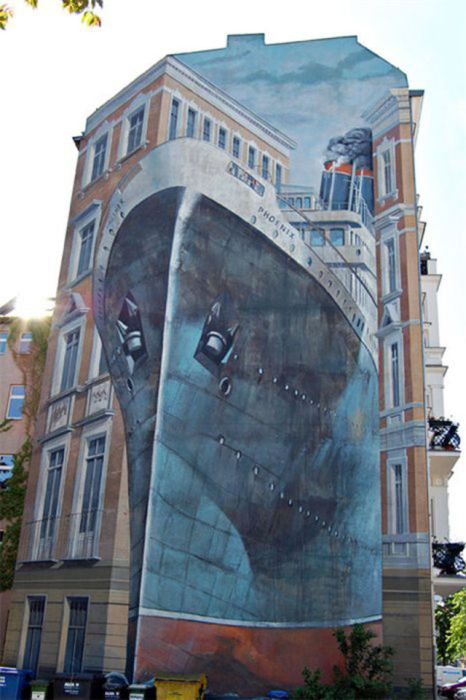 Photo of street art titanic building