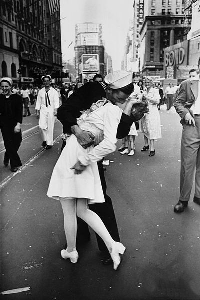 Photo of V-J Day in Times Square, 1945