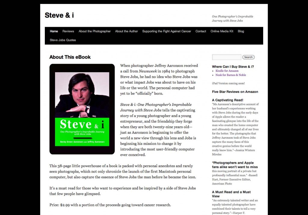 Steve and i website screen capture