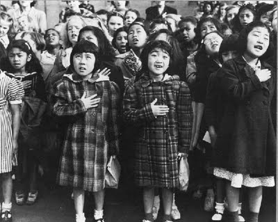 Dorothea Lange photo of a Japanese internment camp