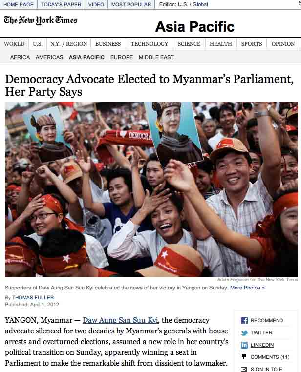 Screen capture NYT Aung San Suu Kyi