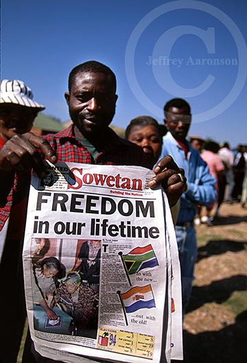 Photo of black voters in South Africa's first all-race election, 1994