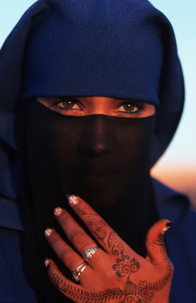 Photo of a Moroccan woman wearing a burka