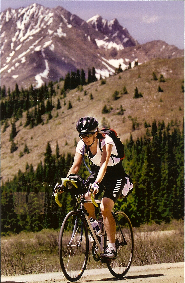 Becky Green Aaronson cycling during Ride the Rockies