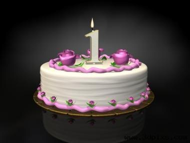 1 One Year Blogiversary The Art Of An Improbable Life Image Birthday Cake With Candle