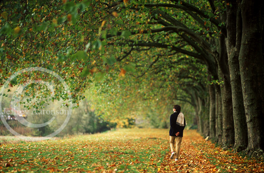Photo of an autumn scene with a woman walking