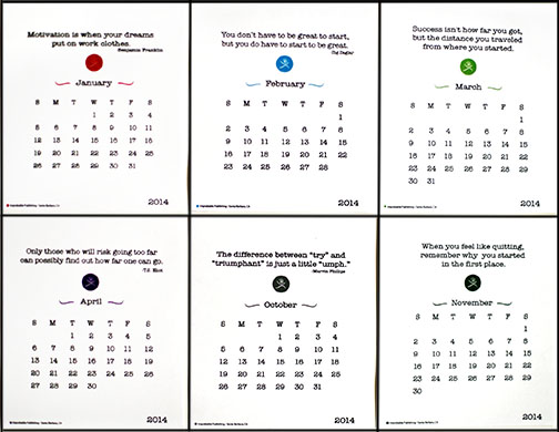 For Sale 2014 Motivational 12-Month Desk Calendar or Runners