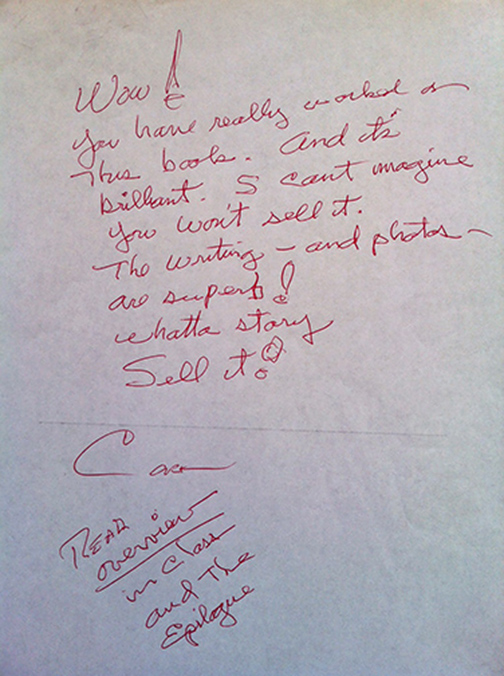 Cork Millner's editing comments with his red pen