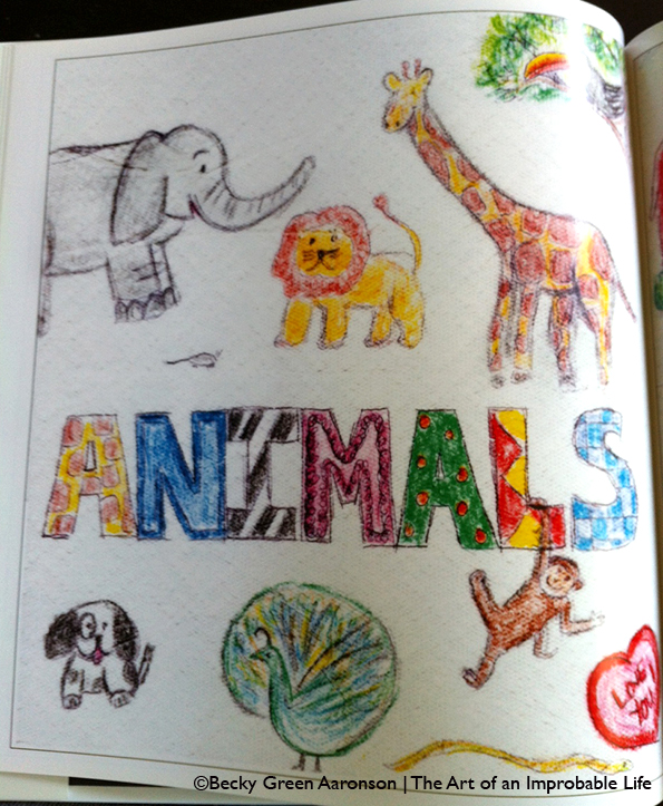 Becky Aaronson's Love Letters book with the animals page