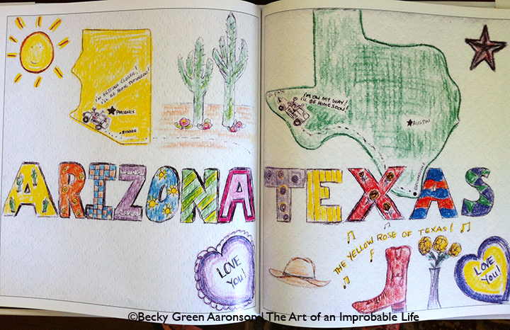 Photo of Becky Green Aaronson's book Love Letters with Arizona and Texax pages