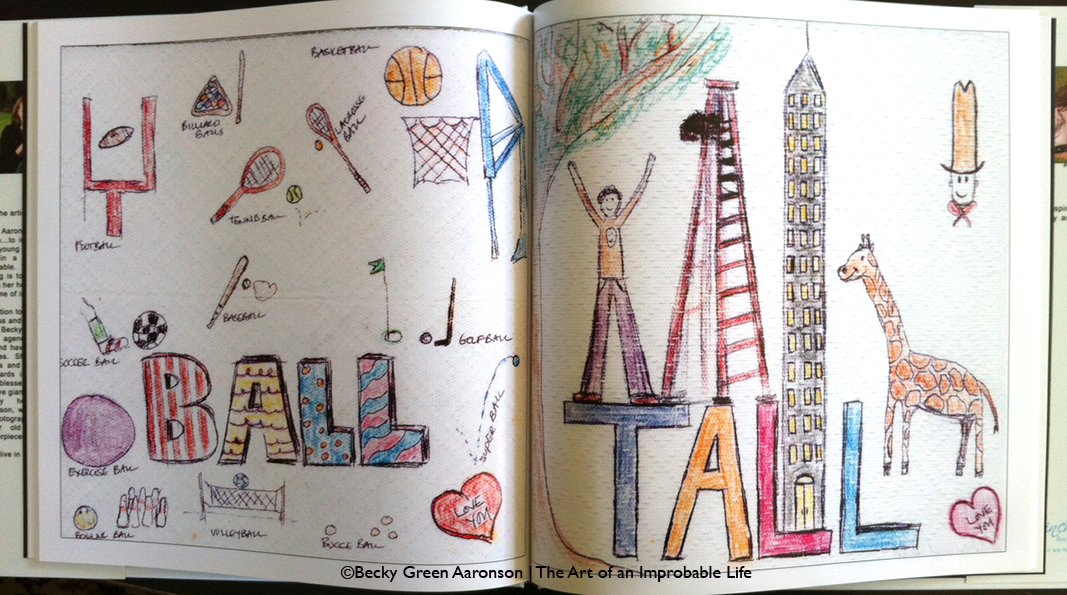 Becky Aaronson's Love Letters book with the tall and ball pages