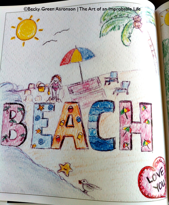 Photo of Becky Green Aaronson's book Love Letters with beach page