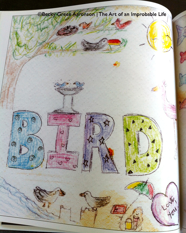 Becky Aaronson's Love Letters book with the bird page