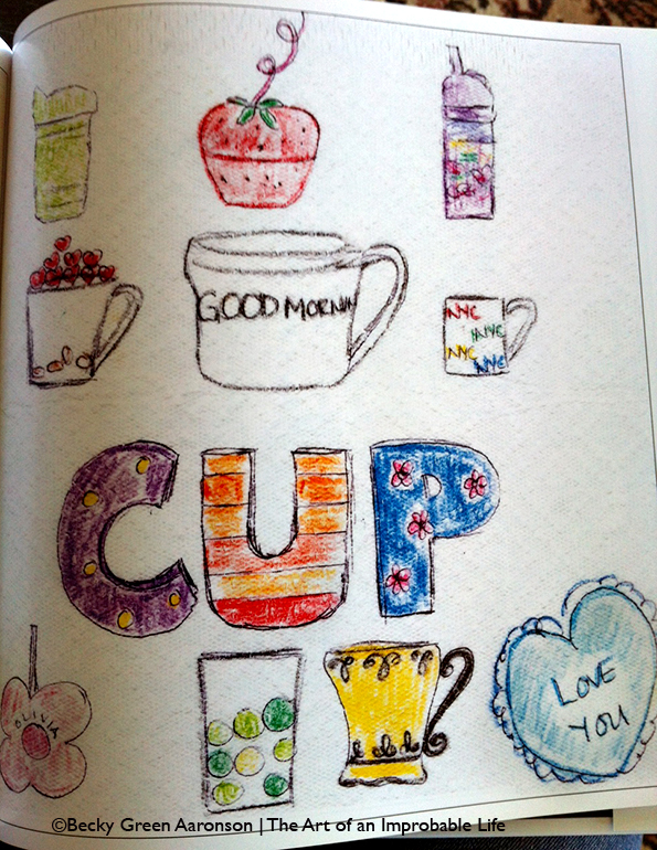 Becky Aaronson's Love Letters book with the Cup page