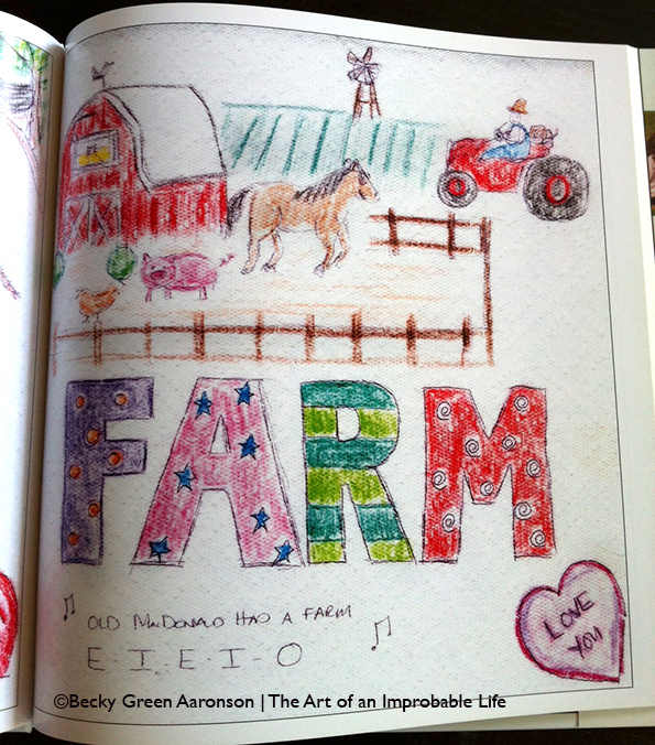 Photo of Becky Green Aaronson's book Love Letters with farm page