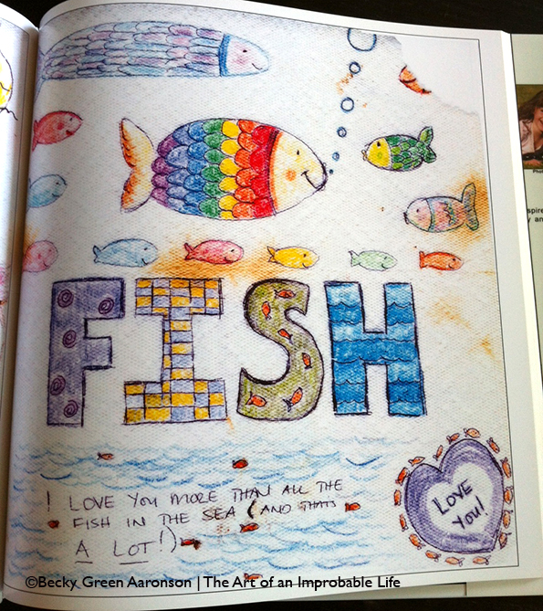 Photo of Becky Green Aaronson's book Love Letters with fish page
