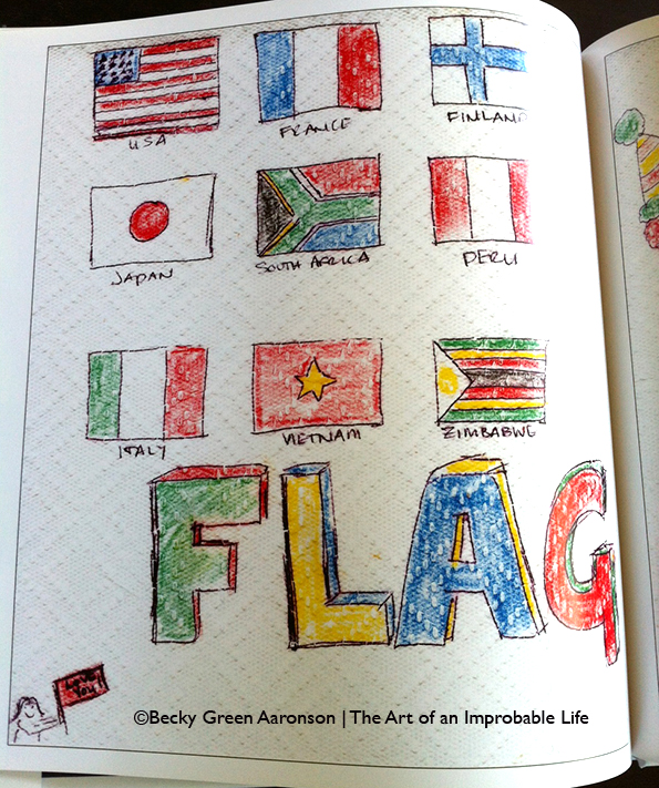 Becky Aaronson's Love Letters book with flag page