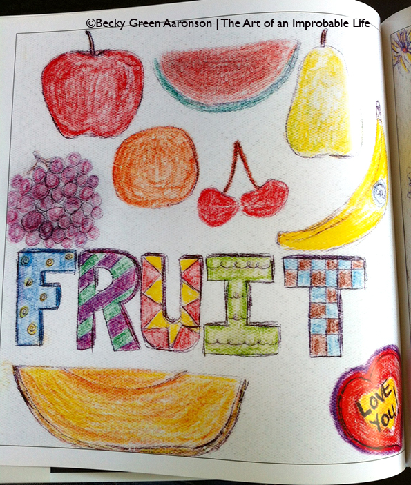 Becky Aaronson's Love Letters book with Fruit page