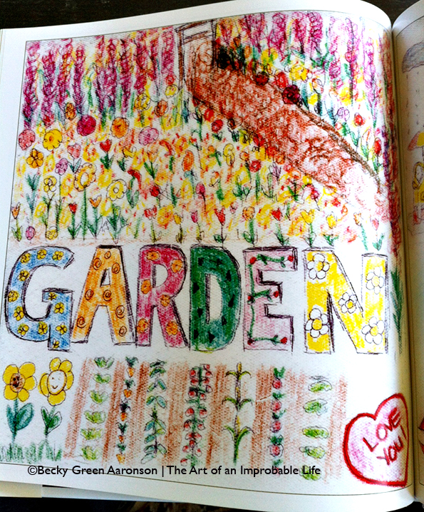 Becky Aaronson's Love Letters book with the garden page