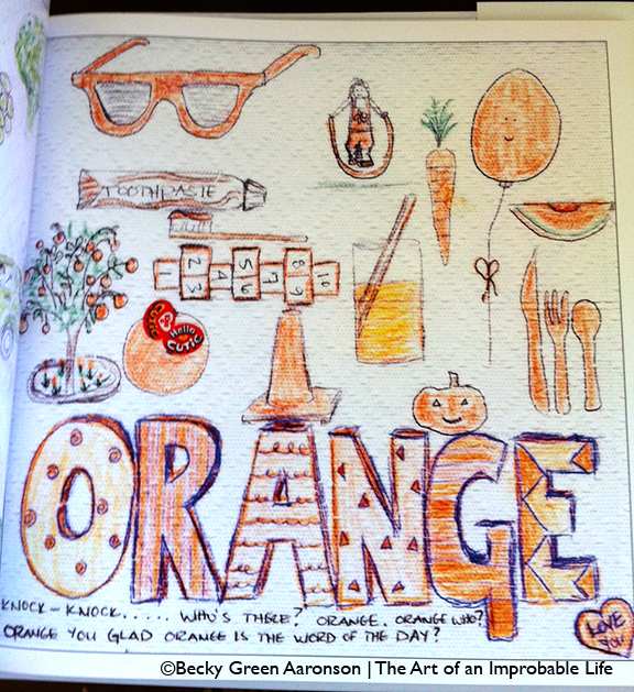 Becky Aaronson's Love Letters book with the orange page