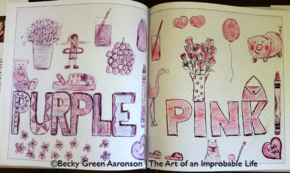 Photo of Becky Green Aaronson's book Love Letters with pink and purple pages
