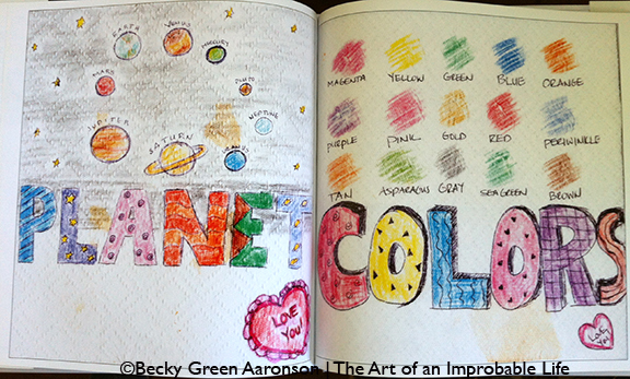 Photo of Becky Green Aaronson's book Love Letters with planet and colors pages