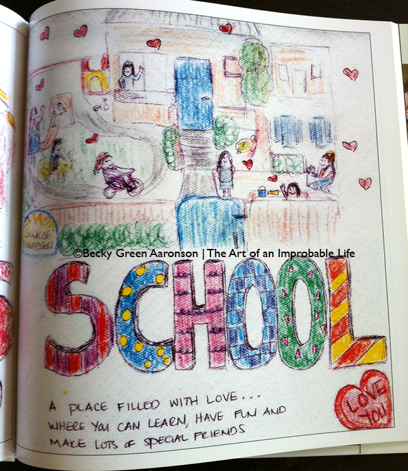 Becky Aaronson's Love Letters book with school page