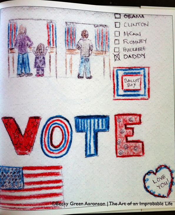Photo of Becky Green Aaronson's book Love Letters with the vote page
