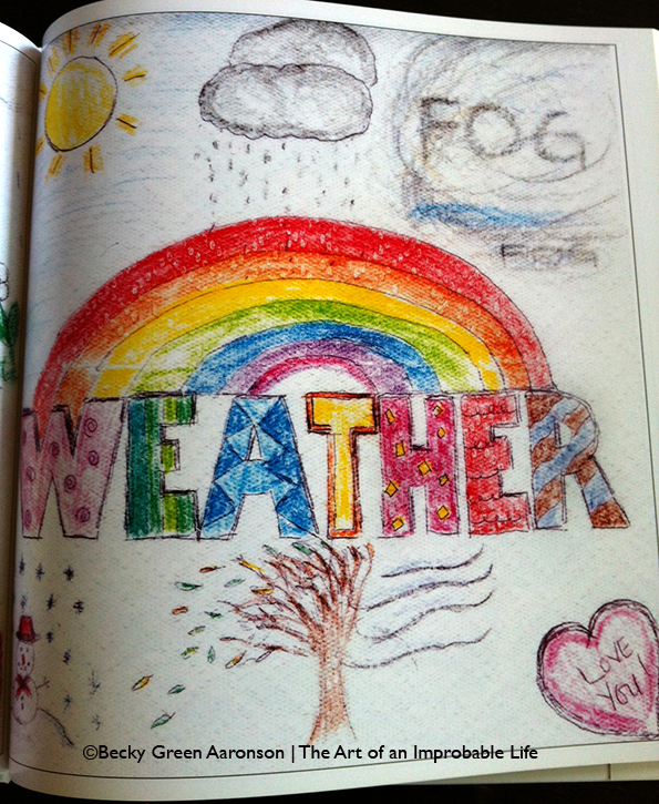 Becky Aaronson's Love Letters book with the weather page