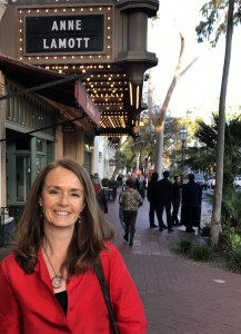 Becky Aaronson in front of the Granada Theater before Anne Lamott's talk